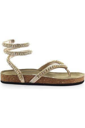 Strategia Women Sandals - PLATINUM THONG SANDAL WITH RHINESTONE