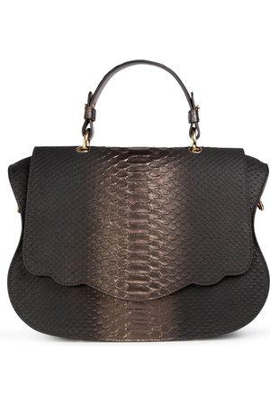 THALÈ BLANC Women Purses & Wallets - Audrey Satchel: Pewter Snakeskin Designer Handbag
