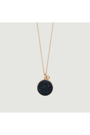 GINETTE NY Ever Blue Sand Stone Disc rose gold chain necklace Or rose