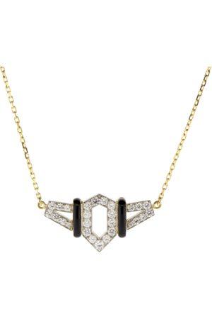 David Webb Women Necklaces - Black Enamel And Diamond Flight Necklace
