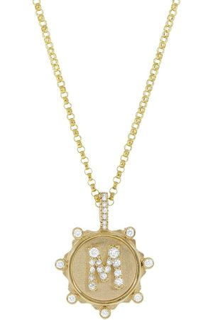 Marlo Laz Women Necklaces - M Pave Initial Coin Charm