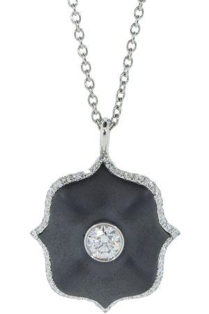 Bayco Black Ceramic and Diamond Mini Lotus Necklace