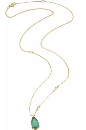 Yi Collection Women Necklaces - Emerald Dewdrop Supreme Pendant with Diamond Necklace