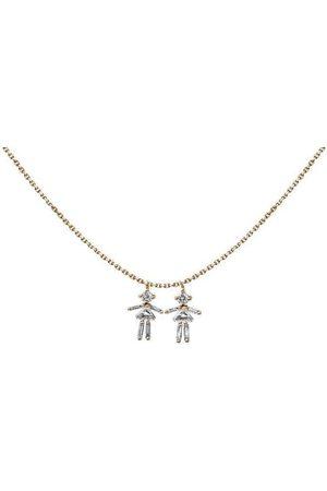 Little Ones Women Necklaces - Baguette Diamond Rose Gold Girl Necklace