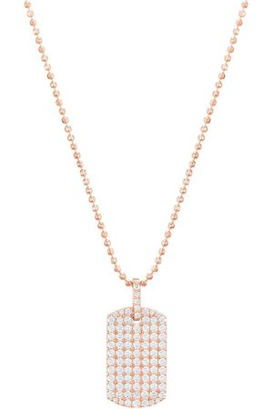 CARBON & HYDE Women Necklaces - Diamond Dogtag Necklace - Rose Gold