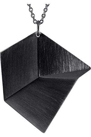 Sofie Lunoe Women Necklaces - Flake Large Oxidized Silver Pendant with Long Chain