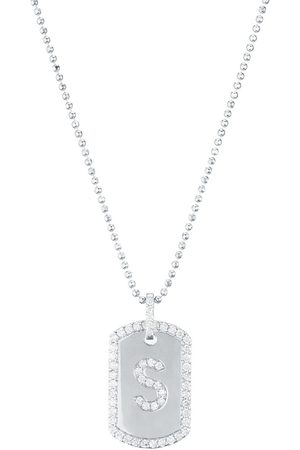 CARBON & HYDE Initial Dogtag Necklace - White Gold