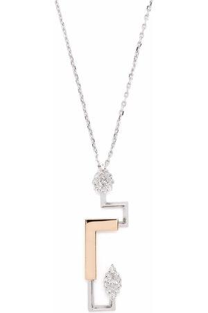 Yeprem 18kt gold diamond structured pendant necklace