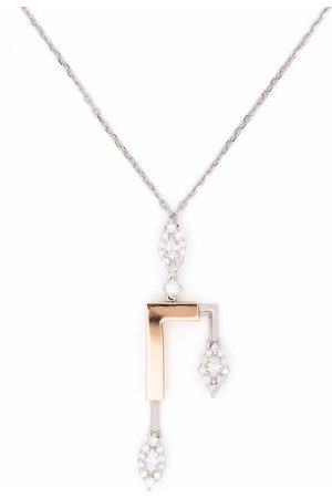 Yeprem Women Necklaces - 18kt gold diamond structured pendant necklace
