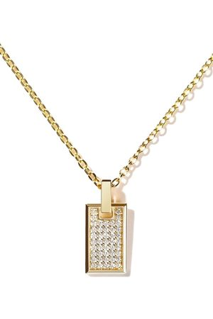 AS29 Women Necklaces - 18kt yellow gold diamond small Tag pendant necklace