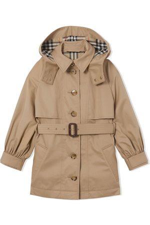 Burberry Girls Trench Coats - Detachable-hood trench coat - Neutrals
