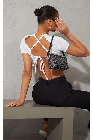 PrettyLittleThing Women Crop Tops - Slinky Tie Back Strap Crop Top