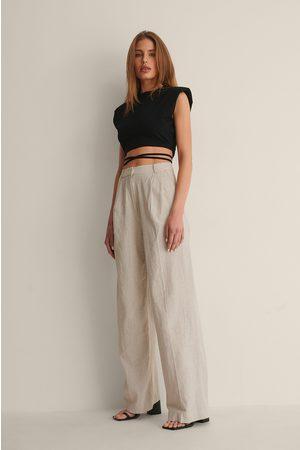 Curated Styles Linen Blend Suit Pants - Beige