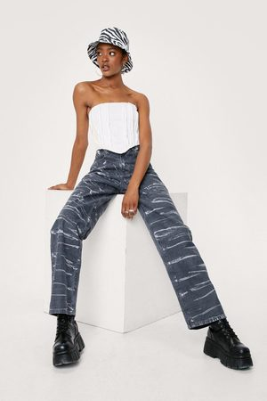 NASTY GAL Womens All Over Tie Dye Straight Jeans