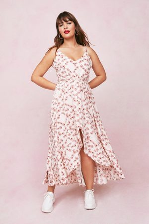 NASTY GAL Womens Plus Size Cream Floral Strappy Maxi Dress