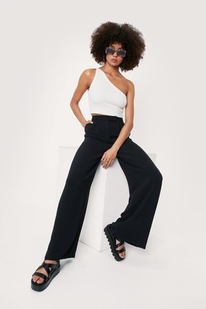 NASTY GAL Womens Textured High Waisted Wide Leg trousers
