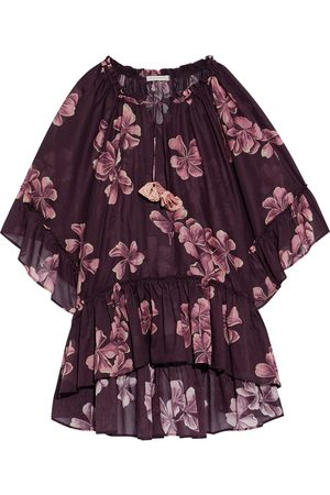 ANJUNA Women Beach Dresses - Woman Futura Ruffled Floral-print Cotton-voile Coverup Burgundy Size M