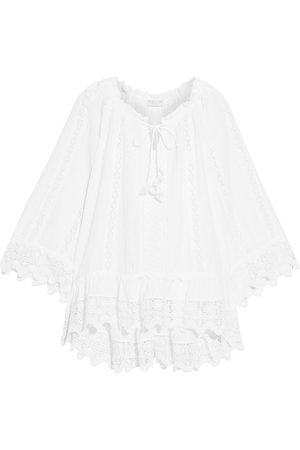 ANJUNA Women Beach Dresses - Woman Dayra Crocheted Lace-trimmed Broderie Anglaise Cotton Coverup Size L