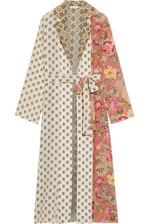 ANJUNA Women Kimonos - Woman Selene Bead-embellished Paneled Printed Silk Crepe De Chine Kimono Ecru Size L