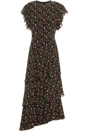 MIKAEL AGHAL Women Printed Dresses - Woman Tiered Ruffled Floral-print Georgette Midi Dress Size 10