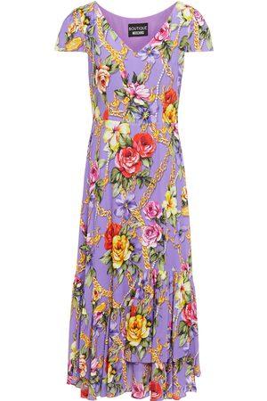 Moschino Woman Gathered Floral-print Crepe De Chine Midi Dress Lavender Size 38