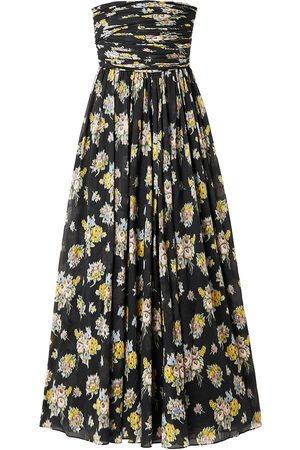 BROCK COLLECTION Woman Strapless Ruched Floral-print Cotton-voile Maxi Dress Size 0
