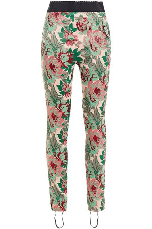 DOLCE & GABBANA Women Trousers - Woman Metallic Floral-jacquard Stirrup Leggings Antique Rose Size 36