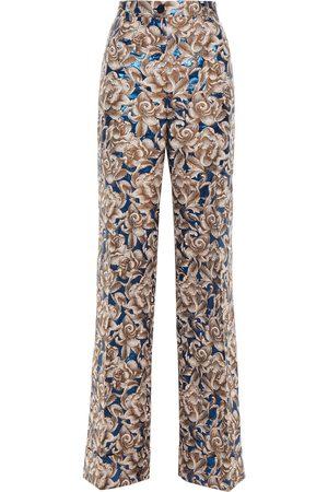 Dolce & Gabbana Women Wide Leg Trousers - Woman Brocade Wide-leg Pants Taupe Size 36
