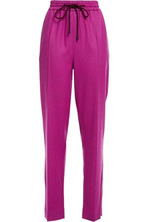 Roksanda Women Trousers - Woman Mélange Wool-blend Twill Track Pants Magenta Size 10