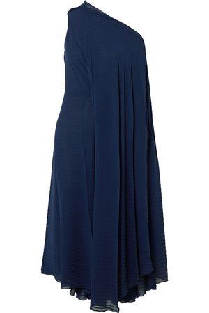 Roland Mouret Women Midi Dresses - Woman Ordesa One-shoulder Pleated Crepe Dress Navy Size L