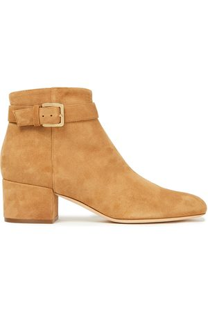 Sergio Rossi Women Ankle Boots - Woman Buckled Suede Ankle Boots Sand Size 34
