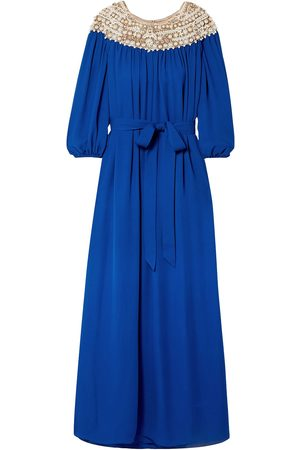 MARCHESA Women Evening Dresses - Woman Embellished Tulle-trimmed Silk-georgette Gown Royal Size L