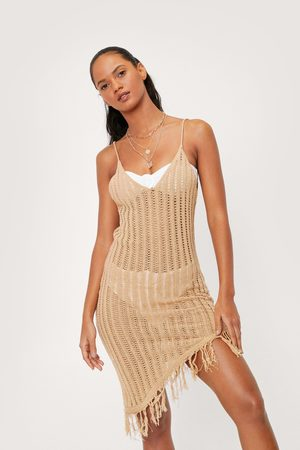 NASTY GAL Women Beach Dresses - Womens Crochet Asymmetric Fringe Cover Up Beach Dress