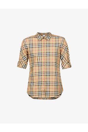 Burberry Women Short Sleeve - Luka vintage-checked stretch-cotton shirt