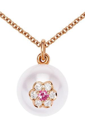 David Morris 18kt rose diamond Berry Pearl Two Flower pendant necklace