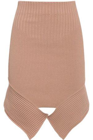 ANDREA ADAMO Women Midi Skirts - Asymmetric Viscose Blend Knit Midi Skirt
