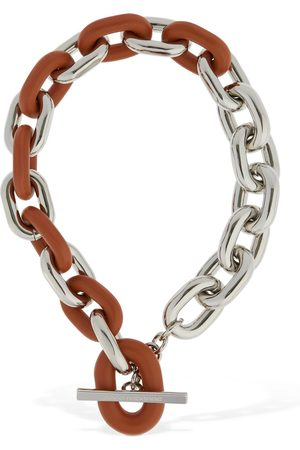 PACO RABANNE Xl Link Short Chain Necklace W/ Leather