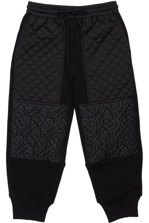 BURBERRY Logo & Quilted Cotton Sweatpants