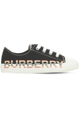 Burberry Logo Print Cotton Lace-up Sneakers