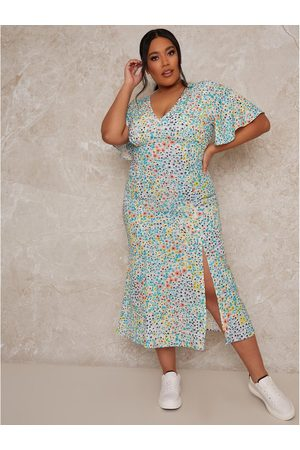 Chi Chi London Chi Chi Curve Flutter Sleeve Floral Print Midi Day Dress