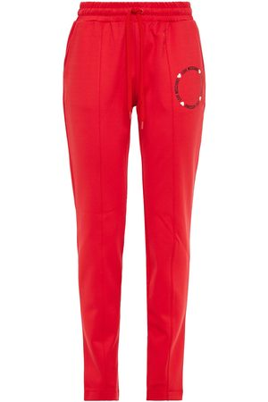 Love Moschino Women Stretch Trousers - Woman Glittered Printed Stretch-jersey Track Pants Tomato Size 38