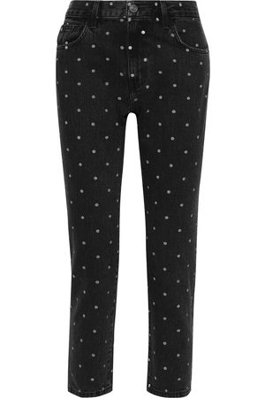 Current/Elliott Women Straight - Woman The Vintage Cropped Polka-dot High-rise Straight-leg Jeans Size 26