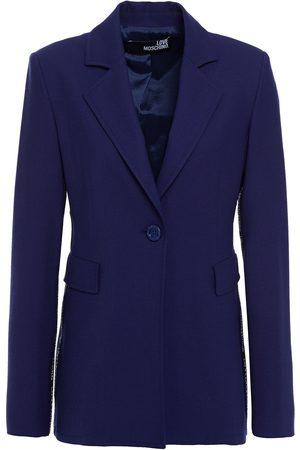LOVE MOSCHINO Women Blazers - Woman Monogram-trimmed Stretch-twill Blazer Indigo Size 38