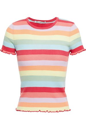 AUTUMN CASHMERE Woman Striped Ribbed Cotton Top Multicolor Size L