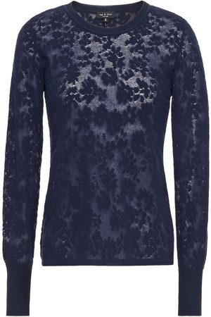 RAG&BONE Women Jumpers - Woman Perry Jacquard-knit Cotton-blend Sweater Navy Size M