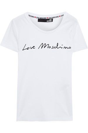 Love Moschino Women Short Sleeve - Woman Printed Stretch-cotton Jersey T-shirt Size 38