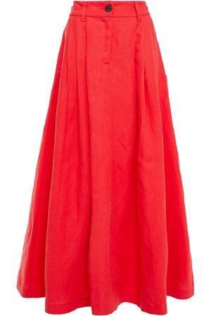 Mara Hoffman Women Maxi Skirts - Woman Tulay Pleated Tencel And Linen-blend Maxi Skirt Tomato Size 10