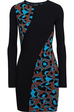 Roberto Cavalli Women Knitted Dresses - Woman Paneled Ribbed And Jacquard-knit Mini Dress Size L
