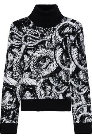 JUST CAVALLI Woman Metallic Jacquard-knit Turtleneck Sweater Size L