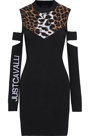 JUST CAVALLI Women Knitted Dresses - Woman Cold-shoulder Cutout Jacquard And Stretch-knit Mini Dress Size L